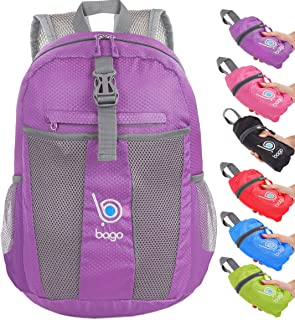 bago 25L Lightweight Packable Backpack - Water Resistant Travel and Hiking Daypack - Foldable and Handy for Camping Outdoor Sports