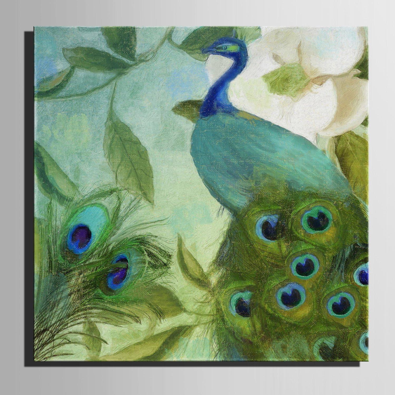 T&Q T&Qing Leinwand-Kunst Gr¨¹ne Pfau-Dekoration-Malerei, rahmenlose Malerei, 50  50  1 B07KN2NTPF    Spielzeug mit kindlichen Herzen herstellen