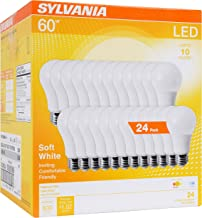 SYLVANIA 74765 A19 Efficient 8.5W Soft White 2700K 60W Equivalent A29 LED Light Bulb (24 Pack), 24 Count