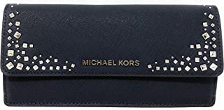 Michael Kors Giftables Stud Leather Flat Wallet in Navy