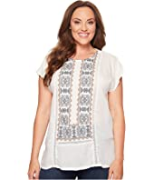 Lucky Brand - Plus Size Embroidered Mix Top