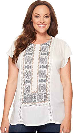 Lucky Brand Plus Size Embroidered Mix Top