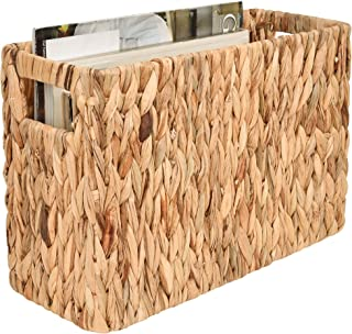 "StorageWorks Hand-Woven Water Hyacinth Magazine Holder, Rectangle Magazine Wicker Basket, 15"" x 10.2"" x 6.1"""