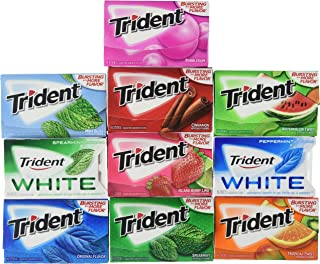 Trident Sugar Free Chewing Gums Pack of 10 (Assorted Flavors)