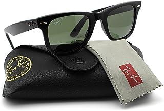 93017fafe2 Amazon.com  Ray-Ban RB2140 901 58 Wayfarer Black Frame   Green Polarized  Lens 50mm  Clothing