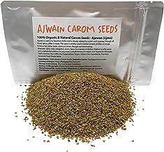 Organic Ajwain Carom Seeds (Net Weight: 1.41oz/40g) - 100% Natural Carom Seeds - Ajowan / Ajmo / Bishop's weed (Trachyspermum Ammi)