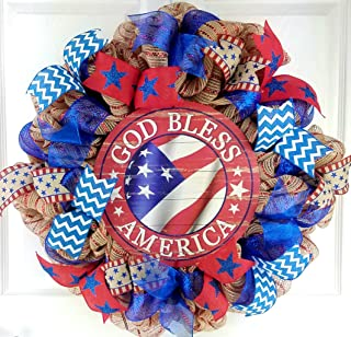 God Bless America Door Wreath | Fourth of July Wreath | Red White Blue Burlap