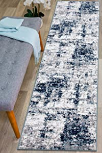 Rugshop Distressed Abstract Runner Rug 2' x 7' Blue