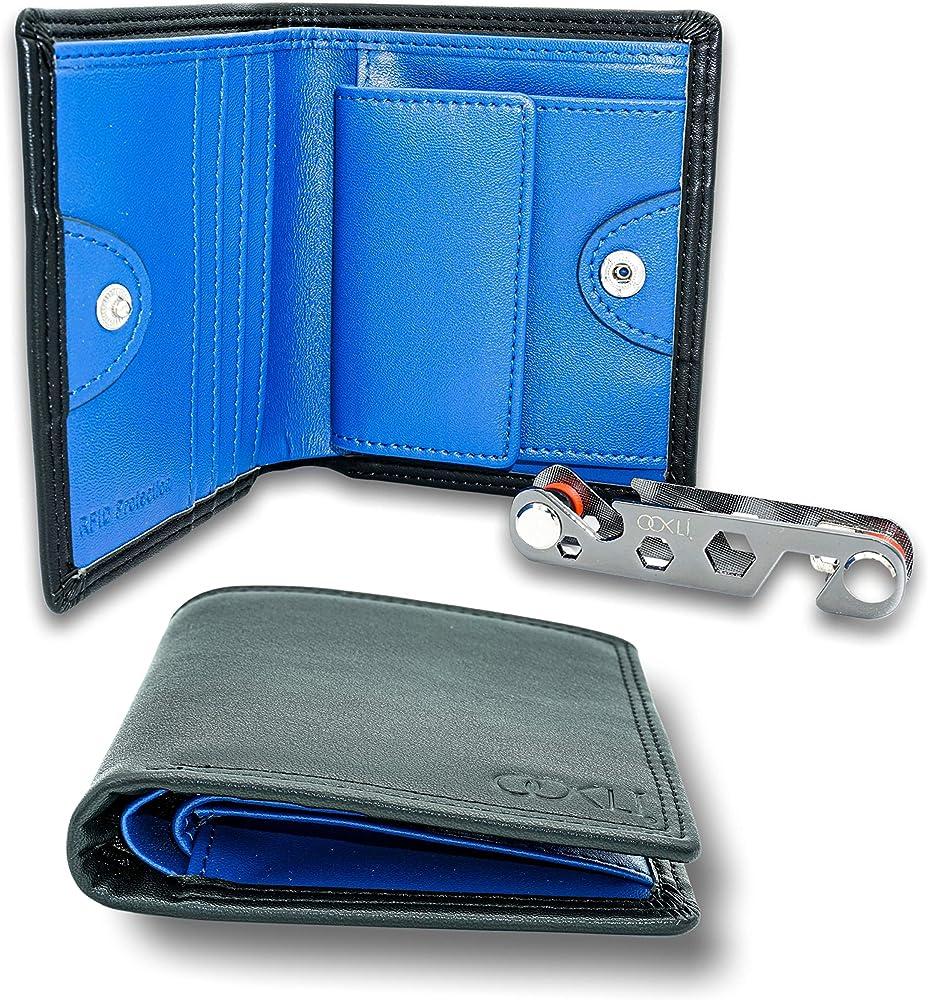 OoklÍ porta carte di credito con protezione anticlonazione portafoglio in pelle sintetica