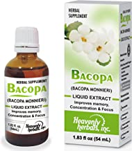 Improves Memory Concentration, Focus with Bacopa Drops - Bacopa Monnieri Extract   Brain Supplement Memory Supplement Cognitive Enhancement   Herbal Remedy 1.83 fl oz