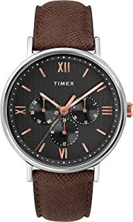 Timex Men's Quartz Watch, Analog Display and Leather Strap - TW2T35000