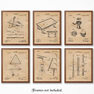 Original Billiards Patent Art Poster Prints - Set of 6 (Six) 8x10 Unframed Pictures - Great Wall Art Decor Gifts Under $20 for Man Cave, Men's Office, Pool Players, Sports Bar, Game Room, Office