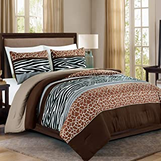WPM 3 Piece Animal Safari Print King Comforter Set. Brown/Beige/White Color All Season Down Alternative Bedding Jungle Zeb...