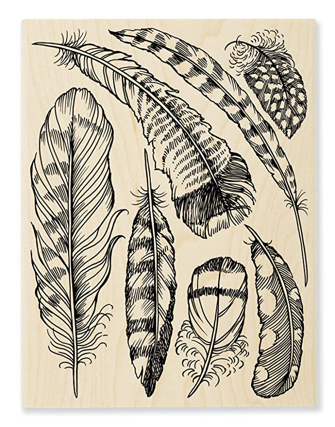 STAMPENDOUS Wood Rubber Stamp Feathers