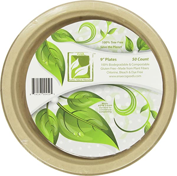 Earth S Natural Alternative Eco Friendly Natural Compostable Plant Fiber 9 Plate Natural 50 Count