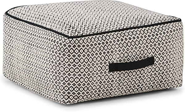 Simpli Home AXCPF 10 Shea Transitional Square Pouf In Patterned Black Natural Cotton Fully Assembled