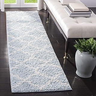 Safavieh Yasmin Shag Rug, Woven Polypropylene Runner Carpet in Blue / Ivory, 60 X 243 cm