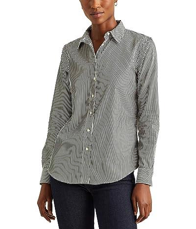 LAUREN Ralph Lauren Striped Cotton Shirt (Deep Pine/White) Women