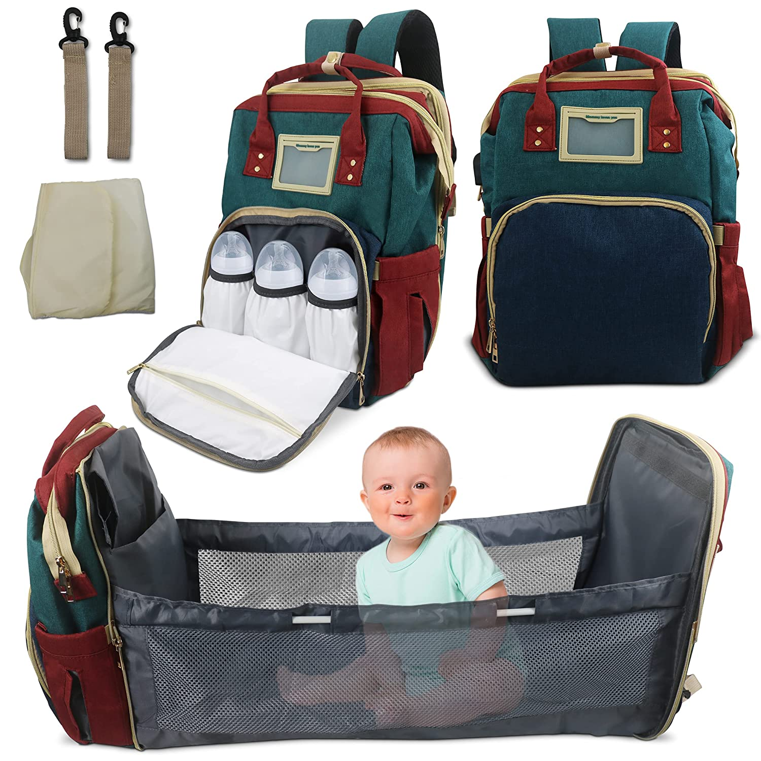 ADL Baby Diaper Bag Backpack with Charging Station,USB Charging Port, Multi Functional Large Capacity with Shade Cloth,Mattress,Card Bag