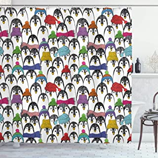 Ambesonne Sea Animals Shower Curtain, Pattern with Penguins in Colorful Hats and Scarfs Cold Winter Fun Art, Cloth Fabric Bathroom Decor Set with Hooks, 75
