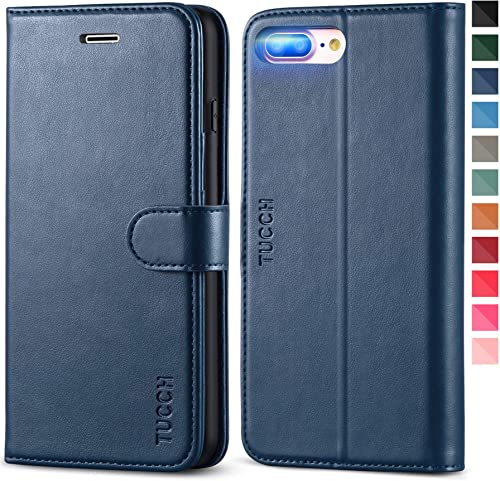 TUCCH iPhone 8 Plus Wallet Case, iPhone 7 Plus Case, PU Leather 3 Credit Card Holder and 1 Money Slot Case with Kicks...