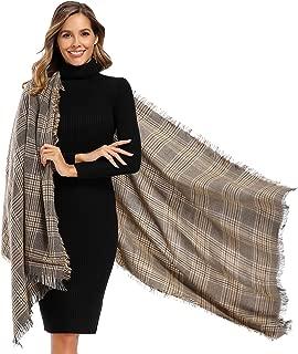 Women's Warm Soft Tartan Wrap Oversized Shawl and Winter Tassel Shawl Scarves
