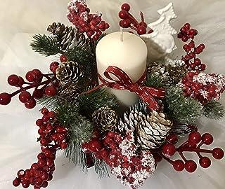 Centrotavola natalizio bacche candela e alberello in ceramica