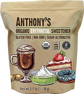 Anthony's Organic Erythritol Granules, 2.5 lb, Non GMO, Natural Sweetener, Keto & Paleo Friendly, Granulated, Zero Calorie...