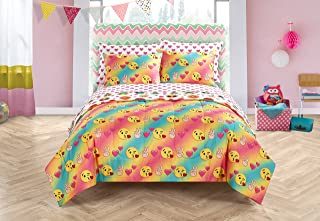 Emoji Pals Love Bed in A Bag Reversible Comforter Set, Tie Dye,  Queen