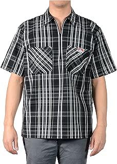Men's Short Sleeve Plaid Half-Zip Work Shirt