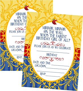Silly Goose Gifts Princess Themed - Mirror Mirror On The Wall - Party Birthday Party Invitation Invite