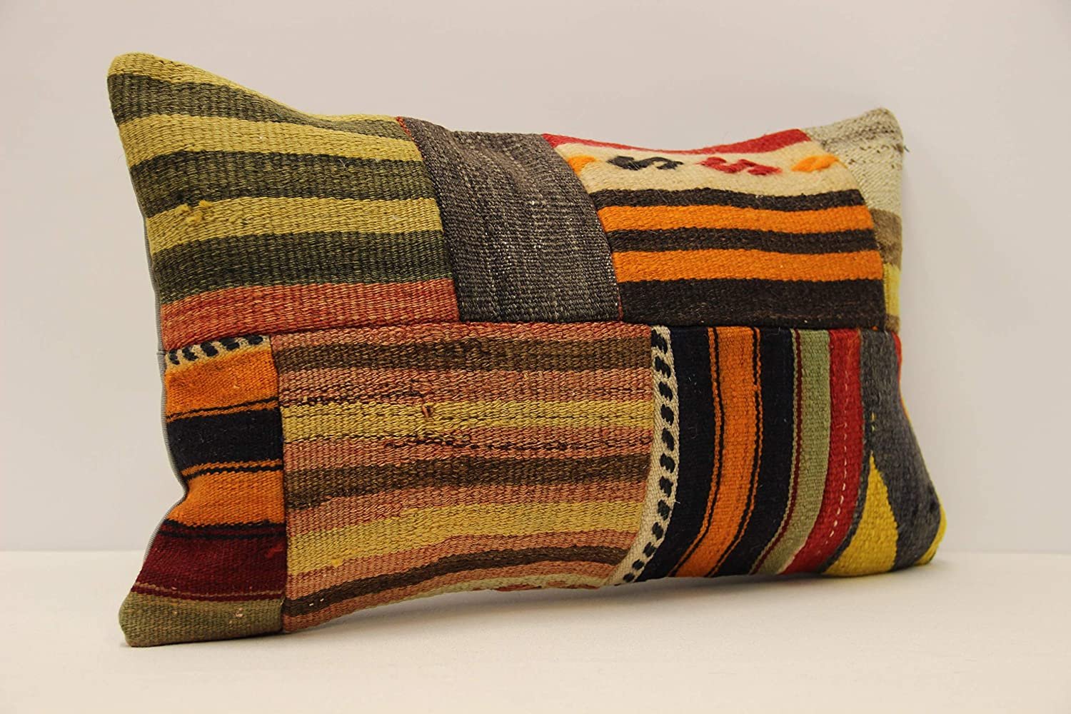 Inventory cleanup selling sale Ethnic kilim pillow cover Patchwork service 12x20 lumb inches 30x50 cm