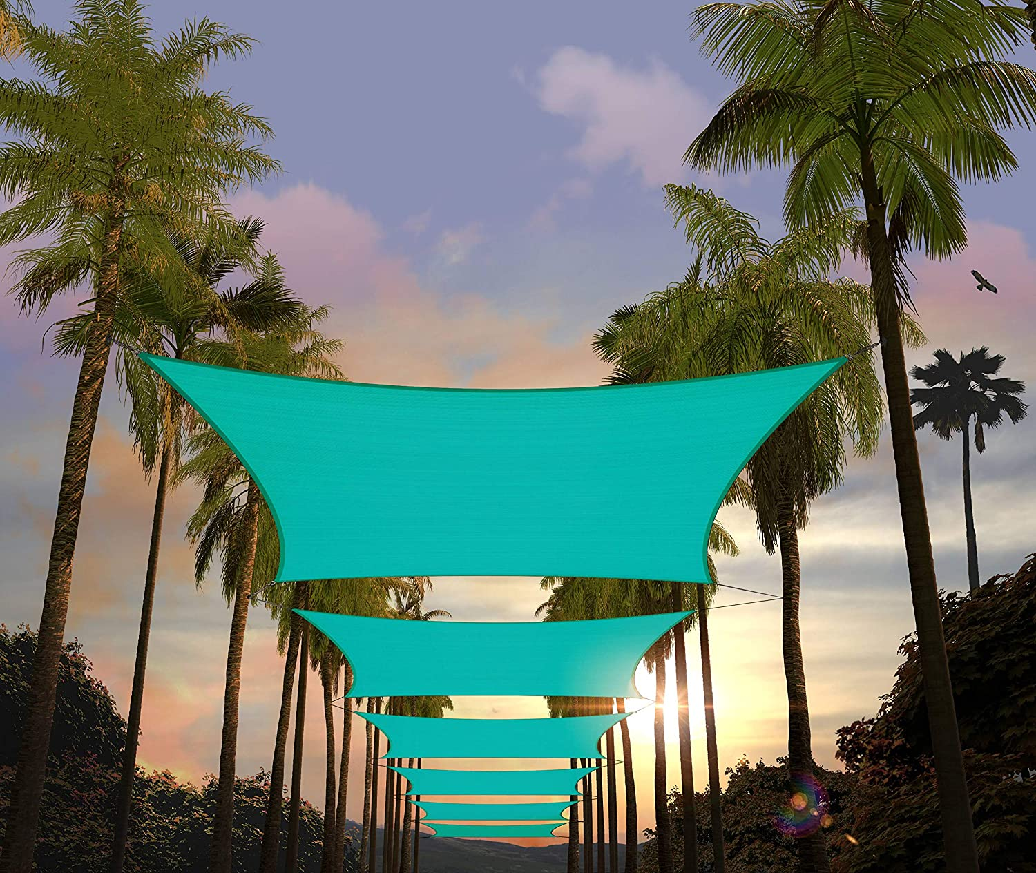 Amgo 8' x 10' Turquoise Rectangle Sun Shade Sail Canopy Awning ATAPR0810, 95% UV Blockage, Water & Air Permeable, Commercial and Residential (Custom