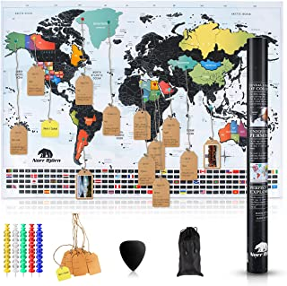 Premium Scratch Off Map Of the World | Travel Scratch Map Poster with Black Foil and Colorful Design Perfect Present Idea for Travelers | Scratch Off Map Of The United States