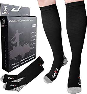 gonicc Professional Compression Socks for Men & Women (20-30 mmHg), Medical Stockings Support Circulation, Recovery – Best Graduated Athletic Socks for Nursing,Volleyball Protective Gear Ankle Guards