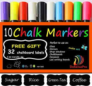 Large Chalk Markers Neon colors - 10 Liquid Chalk Markers Including 2 White + 32 Chalkboard Labels, for Restaurants, Bistro, Office, Home, Art, Weddings Party Decorations by DoSensePro Get Yours Now