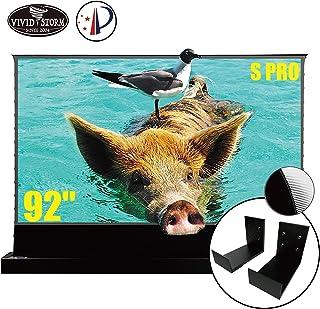 VIVIDSTORM S PRO Ultra Short Throw Laser Projector Screen,Black Housing Motorized Floor Rising Screen 92 inch Ambient Ligh...