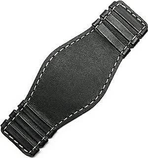 Bund Pad Black Genuine Leather Contrast Stitching 14-18mm Lug Width