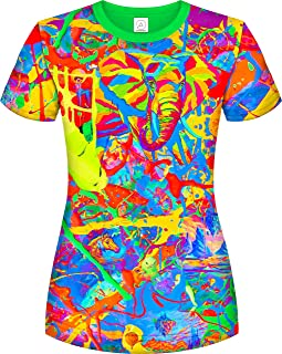Neon UV 3D Blacklight Handmade Art Vivid Pop Colors Party Women T-Shirt