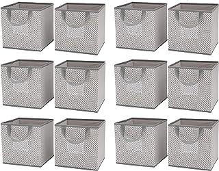 Delta Children 12 Piece Foldable Storage Cubes/Bins, Cool Grey
