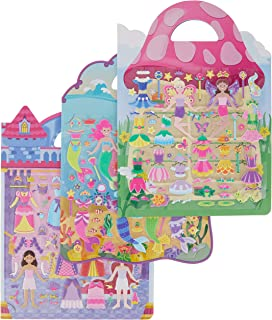 Melissa & Doug Puffy Sticker Activity Books Set: Princess, Mermaid, Fairy - 180+ Reusable Stickers