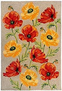 Liora Manne 2272/12 NEUT Ravella Floral Icelandic Poppies Indoor/Outdoor Rug, 3'6