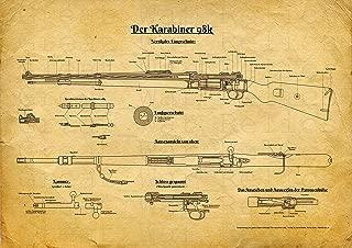 UpCrafts Studio Design Kar98k Mauser Rifle Fine Art Poster- Size 8.3x11.7 - Amazon Prime - Man Cave, Hunter House, Deer Hunting, Reenactment, Reenactor Gifts Idea