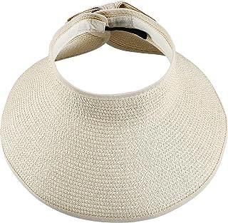 Hestya Women's Wide Brim Roll-up Straw Sun Visor Packable Foldable Sun Visor Beach Open Top Hat