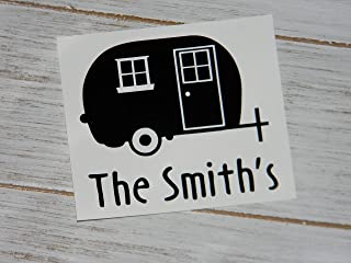 Personalized Happy Camper Camping Adventure Vinyl Decal Sticker-Pick Color and Personalized Text