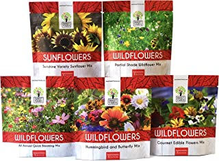 4fbe9fa6b4a8 Bulk Wildflower Seeds Variety Pack - 5 Large Packets 5 Different Mixes -  Over 1