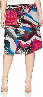 Star Vixen Women's Plus-Size Tie-Waist Ity Stretch a-Line Mid-Length Skirt