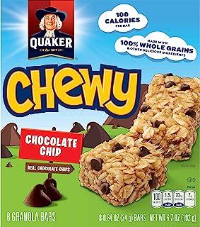 Quaker Chewy Granola Bars, Chocolate Chip, 24g.Bar/8 Bars Per Box (Pack of 6)