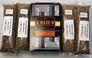 A-Maze-N Pellet Smoker 5x8 Combo Pack Includes 1 Lb Each of Lumber Jack 100% Cherry, Hickory, Mesquite, and 1lb Apple Blend