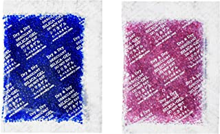 Dry & Dry 20 Gram [100 Packets] Premium Silica Gel Blue Indicating(Blue to Pink) Silica Gel Packs Desiccant Dehumidifier - Rechargeable Silica Packets for Moisture Absorber Silica Gel Packets